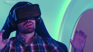 Amazed young man left speechless after virtual reality session