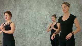 Beautiful young women meditating in studio
