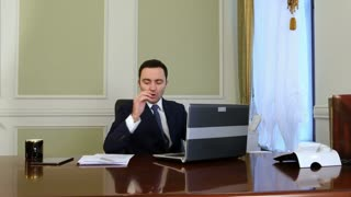 Businessman doing online meeting and video conference