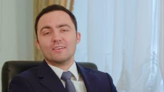 Businessman presentating business company