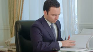 Businessman reading documents and talking on landline phone