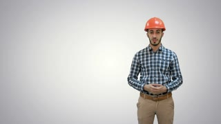 Construction worker enlisting factors for success on white background