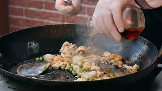 Liquid flowing onto frying pan