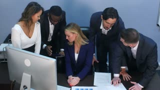 Multiracial business team toogetherness happiness in office