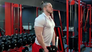 Muscular bodybuilder doing exercise with dumbbells in gym