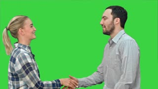 People meet and shake hands on a Green Screen, Chroma Key