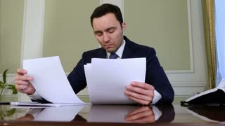 Portrait of young businessman working on his paperwork in the office