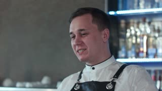 Smiling attractive young barman talking to client