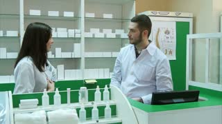 Team of pharmacists having conflict at the hospital pharmacy