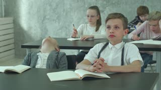 Tired pupils during class in school