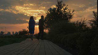 Young couple walking in sunset. Slide