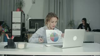 Young female employee presenting pie chart via laptop online meeting