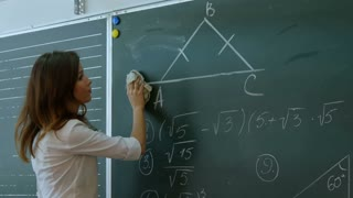 Young teacher erasing chalkboard.