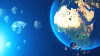 Planet earth with asteroid