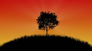 Silhouette tree with motion background