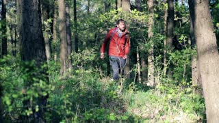 A lost young man looking for direction in the forest