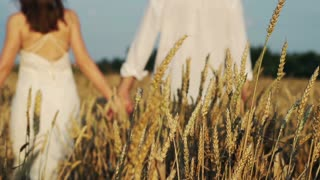 beautiful couple walking in wheat field super slow motion, 240Fps