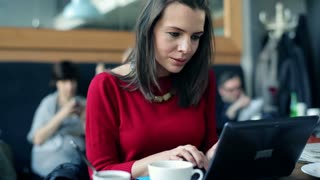 beautiful woman smiling with laptop  in the cafe
