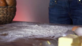 Dough falling on table super slow motion, shot at 240fps