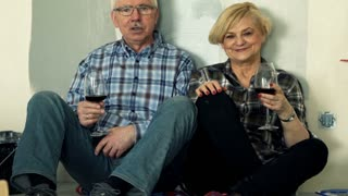 Happy mature couple talking and raising toast at their new home