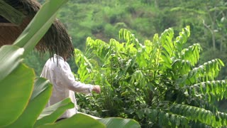 Man walk out and stretching arms enjoying morning on terrace with jungle view, 240fps