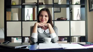 Portrait of young happy beautiful businesswoman in the office