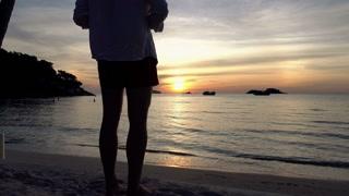 Silhouette of man admire sunset 4 K