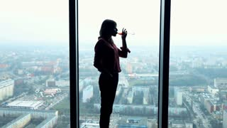 Silhouette of young woman drinking wine  and admire view from window, super slow motion