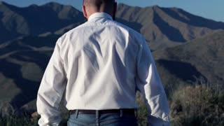 Successful businessman looking at mountains