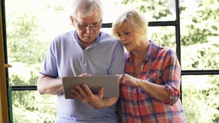 Mature couple sitting by the window with laptop