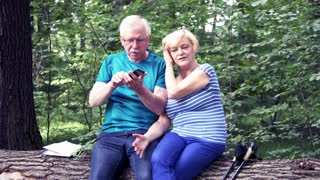 Mature couple taking selfie photo sitting on trunk in the forest