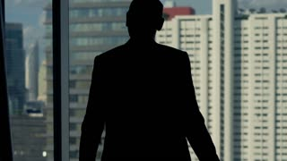 Successful businessman silhouette raising arms, power symbol, in the office