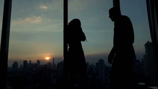 Young couple having relationship difficulties during night