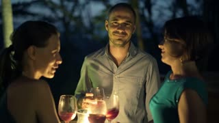 Young happy friends drinking wine, and talk in the bar in the evening, 4K