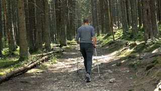 Young man hiking on the forest, super slow motion