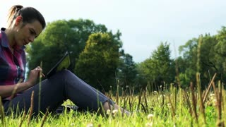 Young woman with tablet computer lying on grass in the park