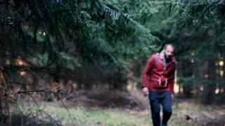 Young,handsome man trekking forest enjoying view