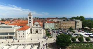 Aerial view of Saint Mary church and monastery in Zadar in Croatia