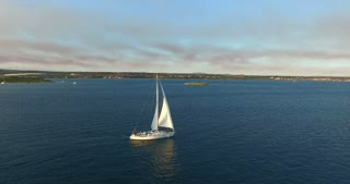 Aerial view of yacht sailing near beautiful Galesnjak Island