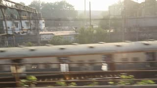 Aerial view on railway during the train ride in Mumbai.