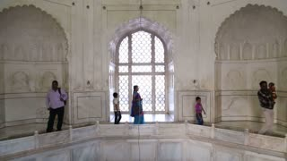 AGRA, INDIA - 15 JANUARY 2015: Interior view of the Taj Mahal mausoleum.