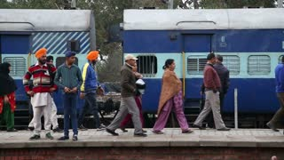 AMRITSAR, INDIA - 2 MARCH 2015: People at the train station in Amritsar.