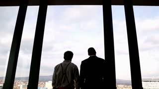 Back view of two businessman looking on city through window