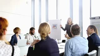 Beautiful smiling businesswoman giving presentation to colleagues in conference room, graded