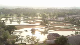 Beautiful view of the rice valley in Hampi.