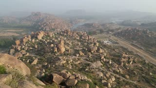 Beautiful view of valley of Hampi from the top of mountain.