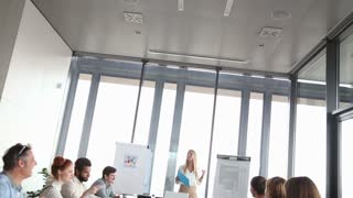 Beautiful young businesswoman discussing on a meeting with colleagues in conference room