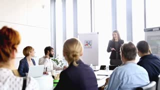Beautiful young businesswoman giving presentation to colleagues, graded