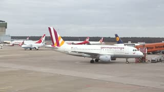BERLIN, GERMANY - 28 JANUARY 2015: Airplanes taxied, moving and taking off at the Tegel airport.