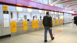 BERLIN, GERMANY - 28 JANUARY 2015: Passenger check-in desk for Lufthansa at the Tegel Airport in Berlin, Germany.